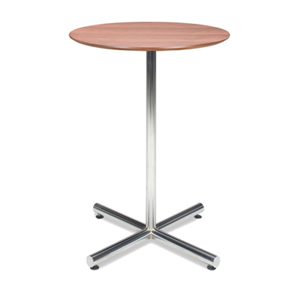"32"" Round Walnut Bar Table with Chrome Base"